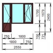 Балконный блок из ПВХ 255x240 см