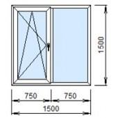 2-08Л: Готовое окно из ПВХ 150х150 см