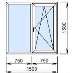 2-08П: Готовое окно из ПВХ 150х150 см