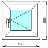 1-01П: Готовое окно из ПВХ 50х50 см