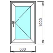 1-08П: Готовое окно из ПВХ 60х100 см