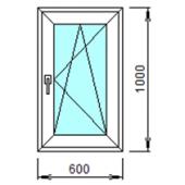 1-09П: Готовое окно из ПВХ 60х100 см