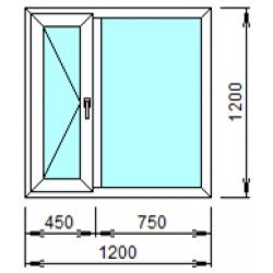 2-01Л: Готовое окно из ПВХ 120х120 см