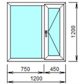 2-01П: Готовое окно из ПВХ 120х120 см