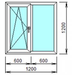 2-02Л: Готовое окно из ПВХ 120х120 см