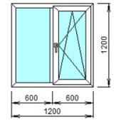 2-02П: Готовое окно из ПВХ 120х120 см