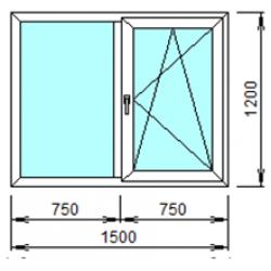 2-04П: Готовое окно из ПВХ 150х120 см