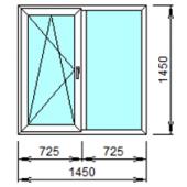 2-07Л: Готовое окно из ПВХ 145х145 см