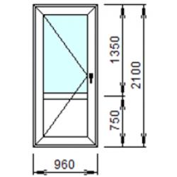 Входная дверь 2-Л из ПВХ 96x210 см