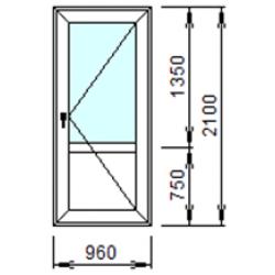 Входная дверь 2-П из ПВХ 96x210 см