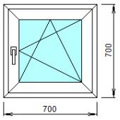 1-06: Готовое окно из ПВХ 70х70 см