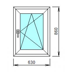 1-34-П: Готовое окно из ПВХ 63х86 см