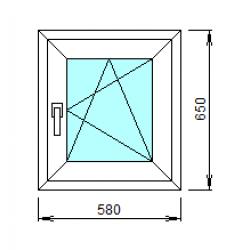 1-36-П: Готовое окно из ПВХ 58х65 см
