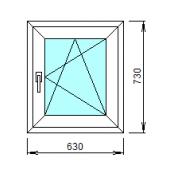 1-38-П: Готовое окно из ПВХ 63х73 см