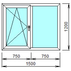 2-04Л: Готовое окно из ПВХ 150х120 см