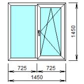2-07П: Готовое окно из ПВХ 145х145 см