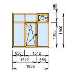 2-19: Окно из ПВХ 197х186 см